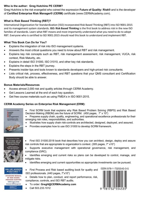 Risk Based Thinking (CERM Academy Series On Enterprise Risk Management):  Greg Hutchins: 9781732554535: Amazon.com: Books