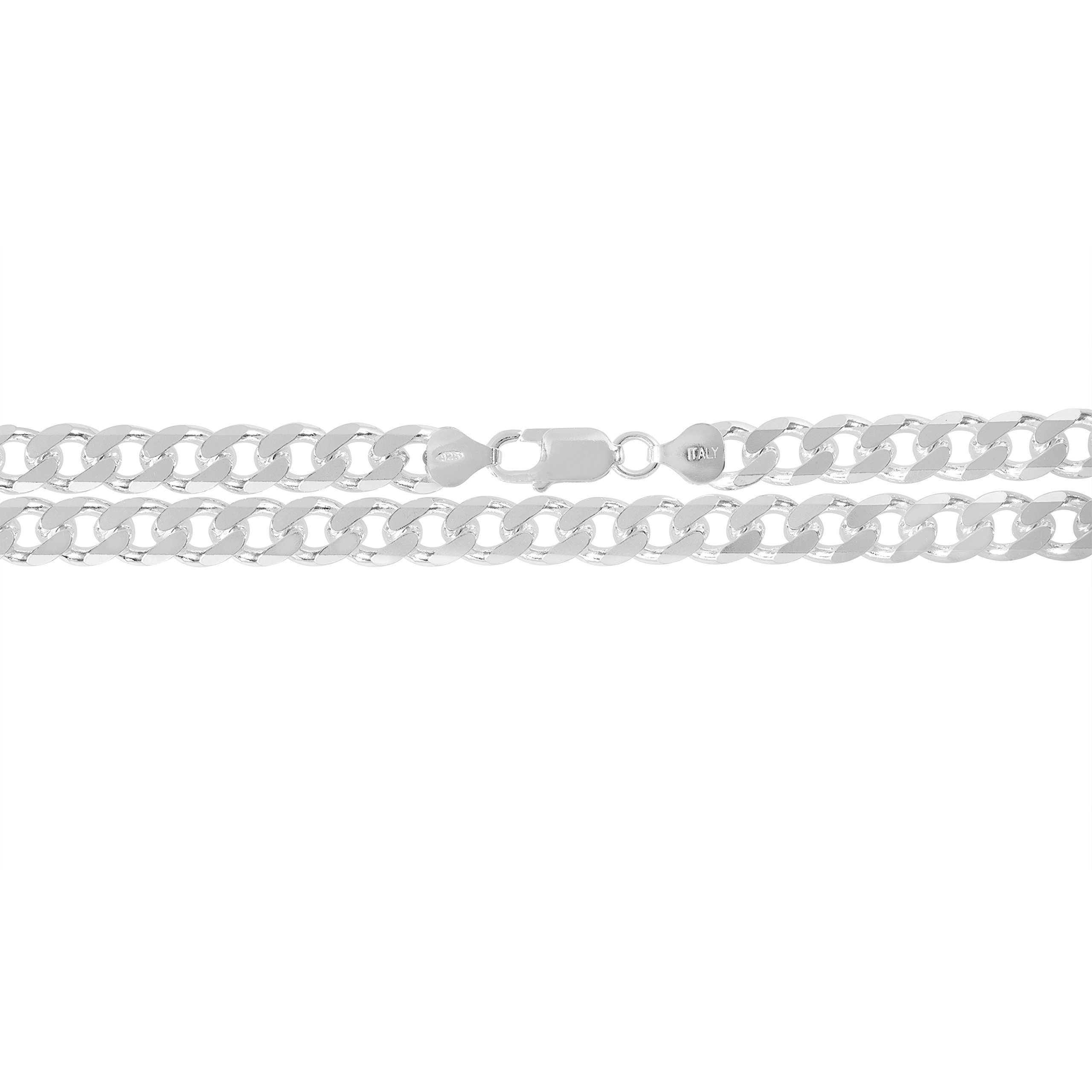 KEZEF Creations 9mm 925 Sterling Silver Cuban Curb Link Chain Bracelet 9 inch