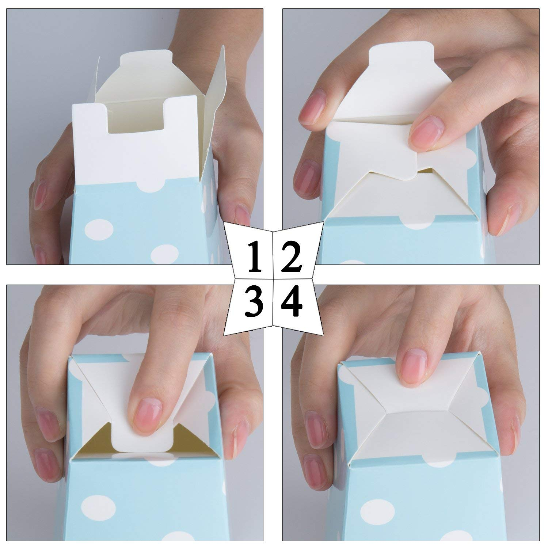 Czemo Caja de Palomitas Carton Caramelo Contenedor Pop Corn Box Palomitas Bolsa para Fiestas 36pcs Oro Rosa