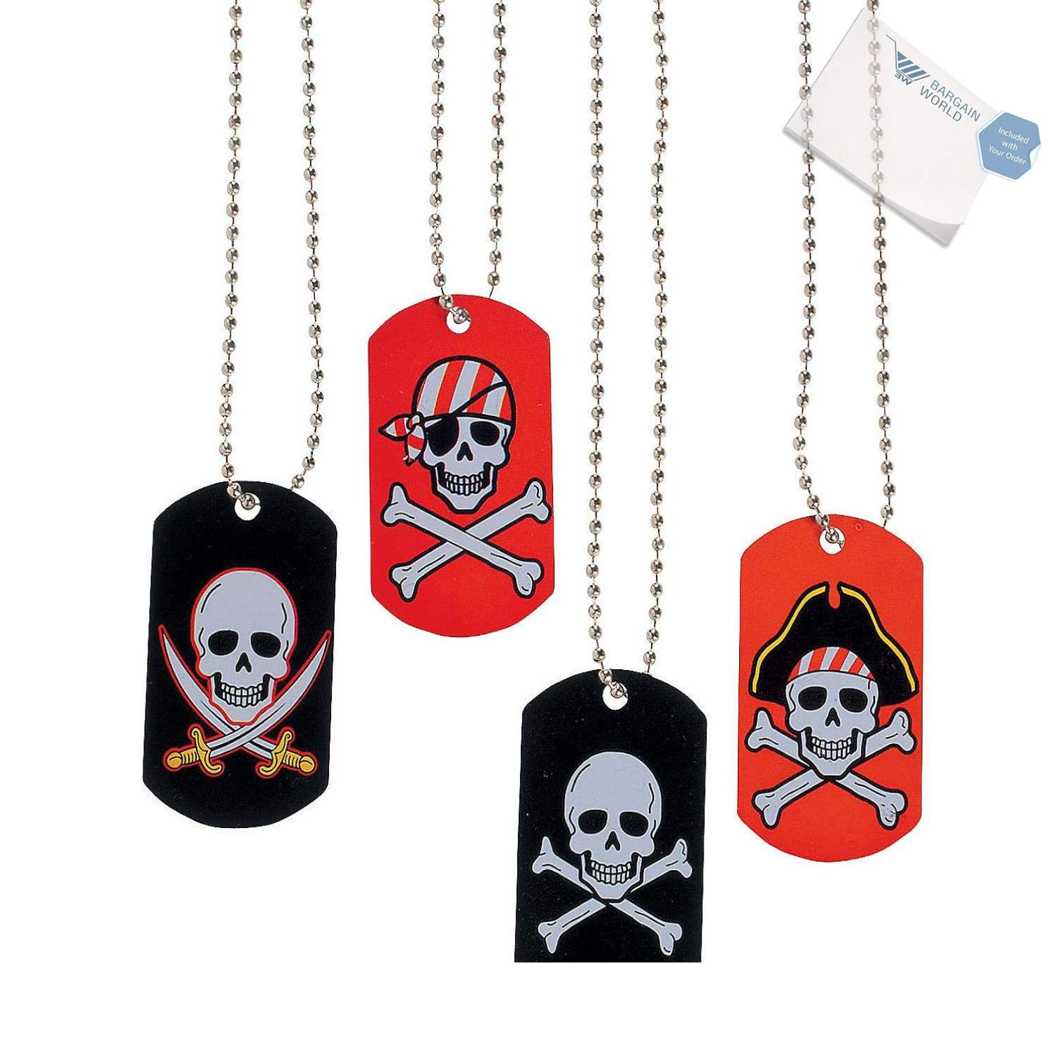 Bargain World Metal Pirate & Crossbones Dog Tag Necklaces (With Sticky Notes)
