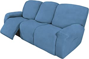 Easy-Going 8 Pieces Recliner Sofa Stretch Sofa Slipcover Sofa Cover Furniture Protector Couch Soft with Elastic Bottom Kids, Spandex Jacquard Fabric Small Checks Light Blue