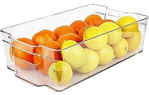 "Greenco Refrigerator and Freezer Wide Storage Bin With Handles, 14.8"" x 8.3""x 3.75"", Clear"