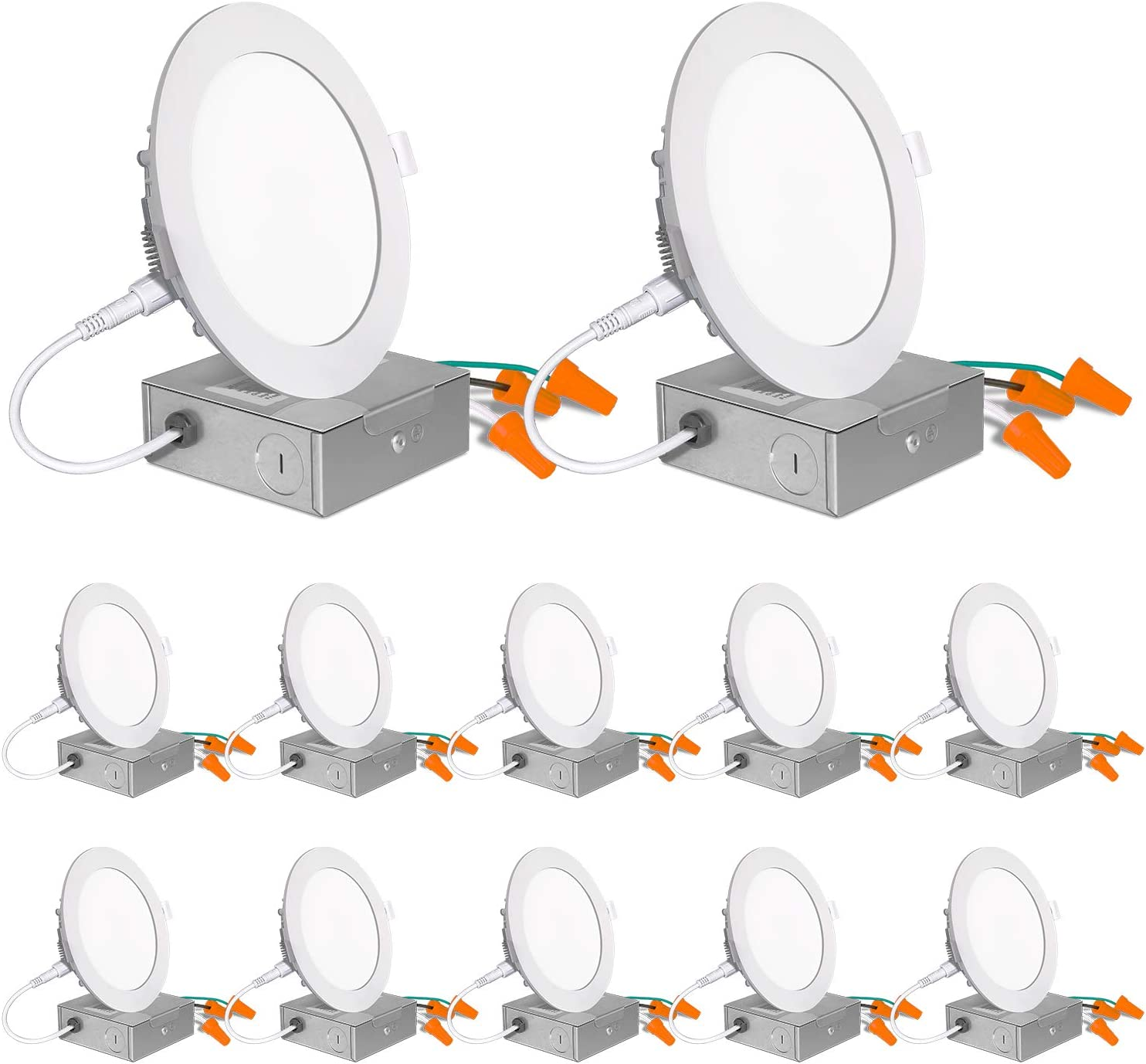 12 Pack 4 Inch Ultra-Thin LED Recessed Ceiling Light with Junction Box, 850lm High Brightness, 10.5W 80W Eqv, 5000K Daylight White, Dimmable Can-Killer Downlight, ETL Listed