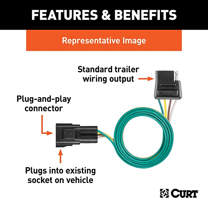 Amazon.com: CURT 56245 Vehicle-Side Custom 4-Pin Trailer Wiring Harness,  Select Chevrolet Traverse, GMC Acadia, Buick Enclave: Automotive   2015 Acadia Trailer Wiring Pinout      Amazon.com