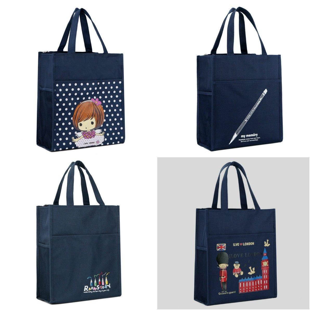 Payonr Womens Stylish Tote Bag Handbag Deep Blue Bear Students Replenishment School Bag Waterproof A4 Book Bag Cartoon File Handbag