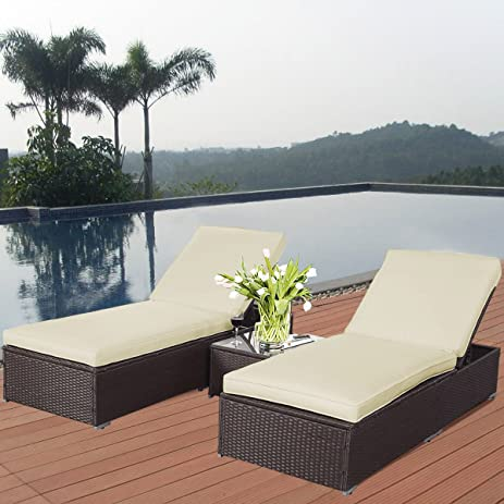 Amazon Tangkula 3 Piece Chaise Lounge Chair Set Patio Wicker