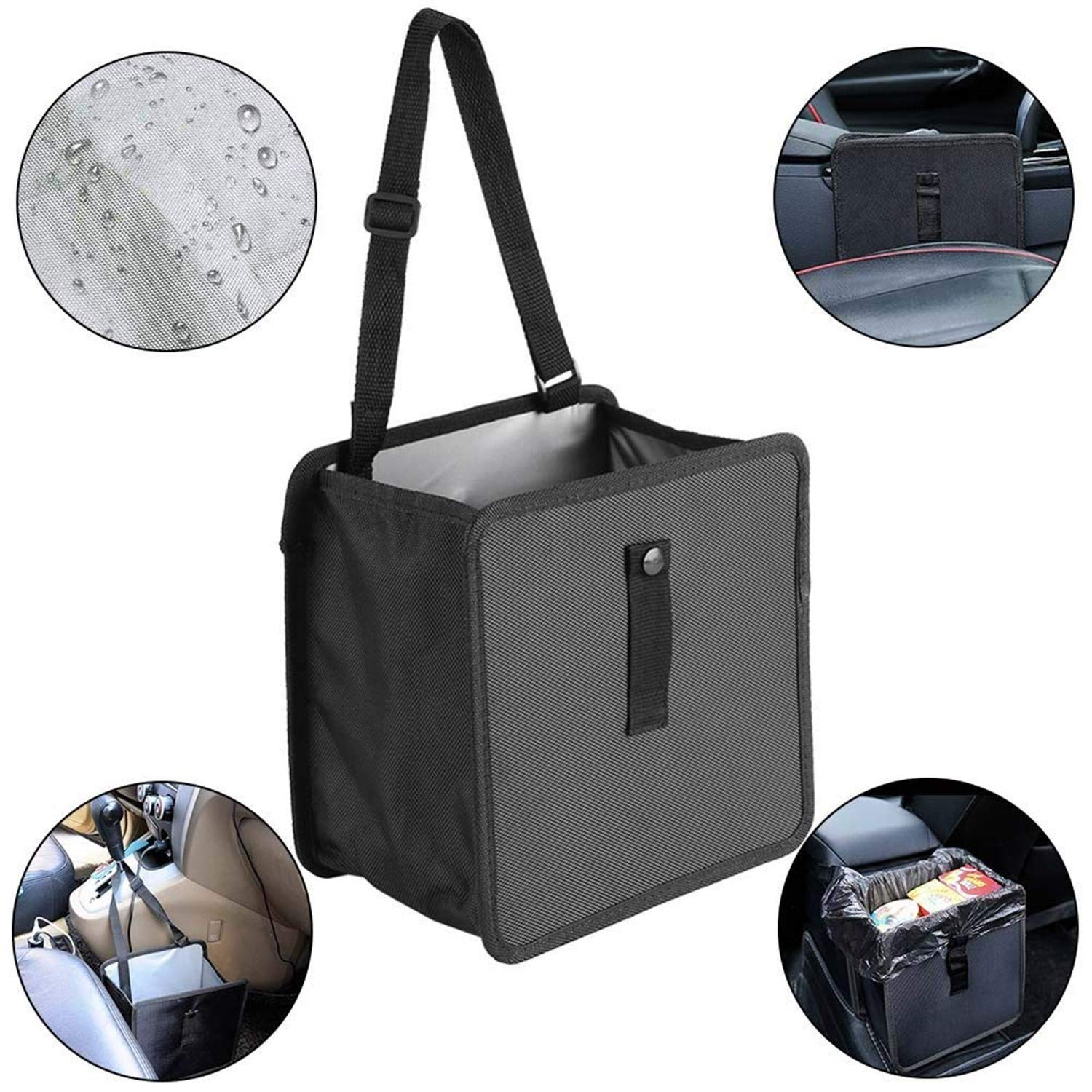 Car Trash Bag Hanging Garbage Cans Car Garbage Can Waterproof Leakproof Car Seat Organizer for SUV Truck House 1.85 Gallon Capacity, Black Datitiger