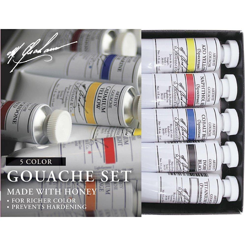 M. Graham 1/2-Ounce Tube 5 Color Gouache Paint Primary Set by M. Graham & Co.