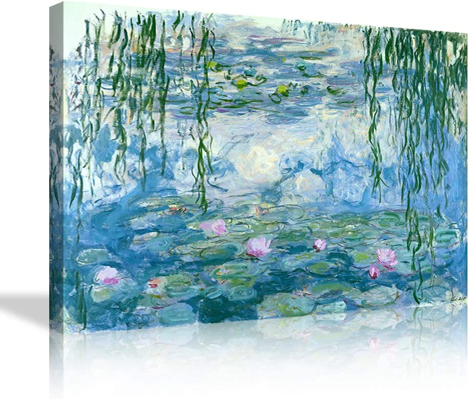 AMEMNY Water Lilies Floral Canvas Wall Art by Claude Monet, Canvas Printing Flowers Framed Artwork for Living Room Bedroom Home Office Pictures Posters People Landscape Giclee Wall Decorations