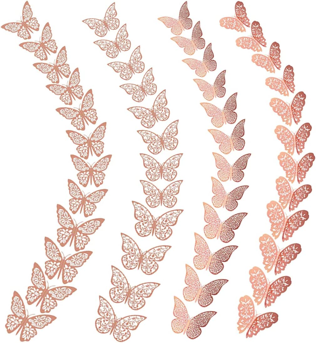3D Butterfly Wall Decor Rose Gold Stickers 3D Hollow-Out Decorative DIY Home Decor Butterflies Decoration for Bedroom Living Room Party Wedding 48 PCS 3D Butterflies (Hollow Rose Gold)