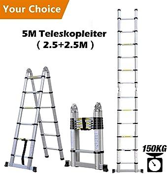 chiak 5 m aluminio escalera telescópica – Escalera extensible Escalera multiusos Escalera de aluminio telescópica (de alta calidad aluminio telescópico de diseño 150 kg carga, 8 x 8 peldaños: Amazon.es: Bricolaje y herramientas