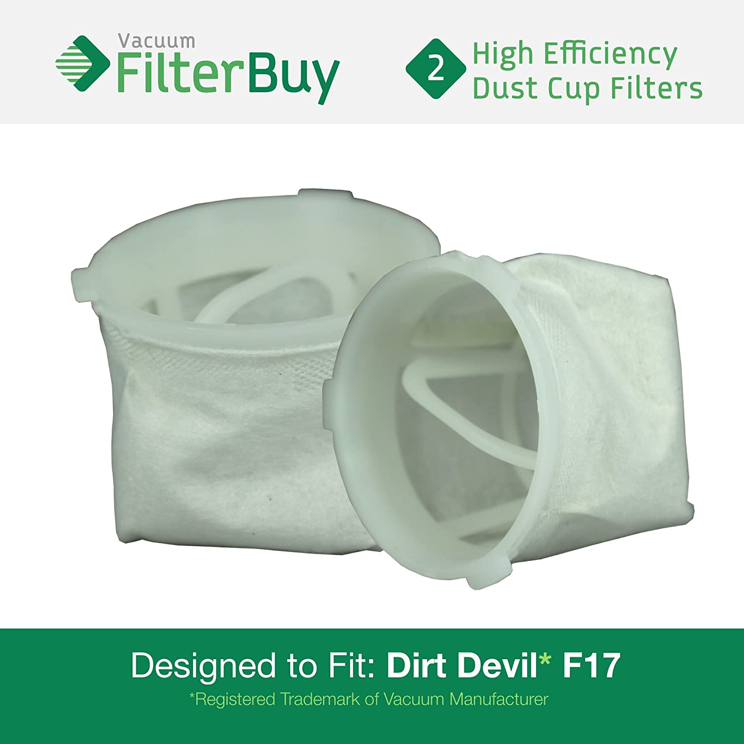 2 - FilterBuy Dirt Devil F-17 (F17) Dust Cup Replacement Filters, Part # 3DN0980000 (3-DN0980-000). Designed by FilterBuy to fit Dirt Devil KONE and KURV Hand Held Vacuum Cleaners