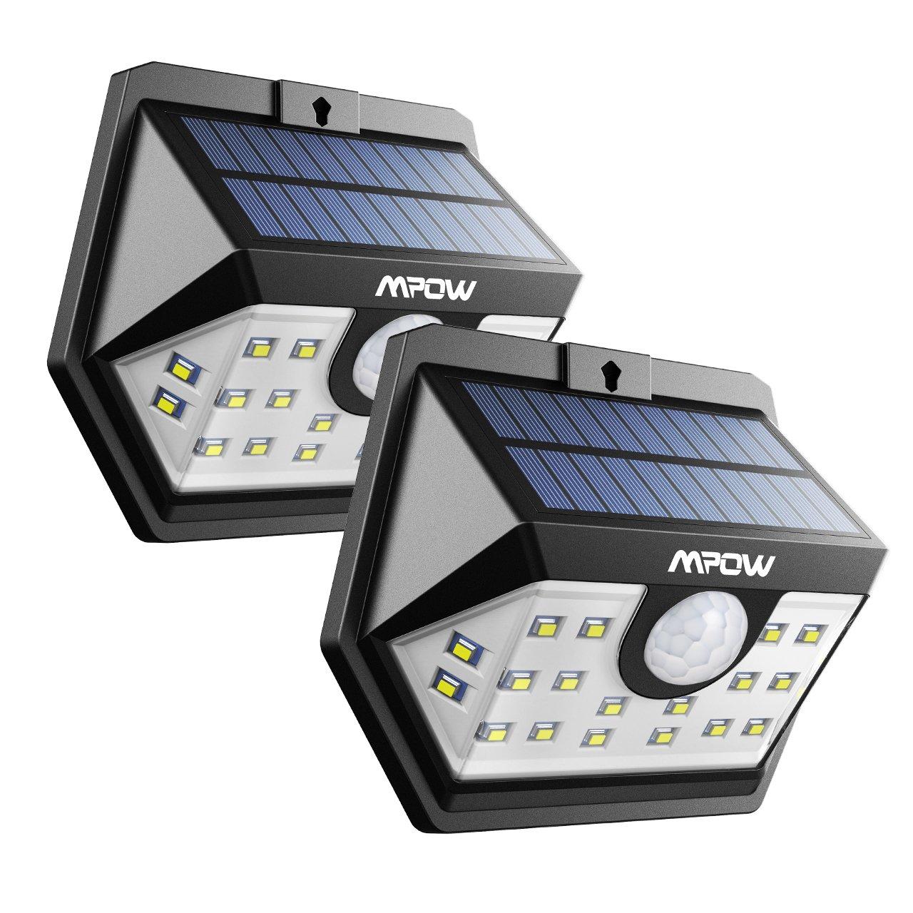 Mpow Weitwinkel Solarleuchte, 20 LED Superhelles Bewegung Solarlicht, Solarbetriebene Sicherheitswandleuchte, Verbesserte 120 ° Weitwinkel Sensorkopf (2, 20 LED)