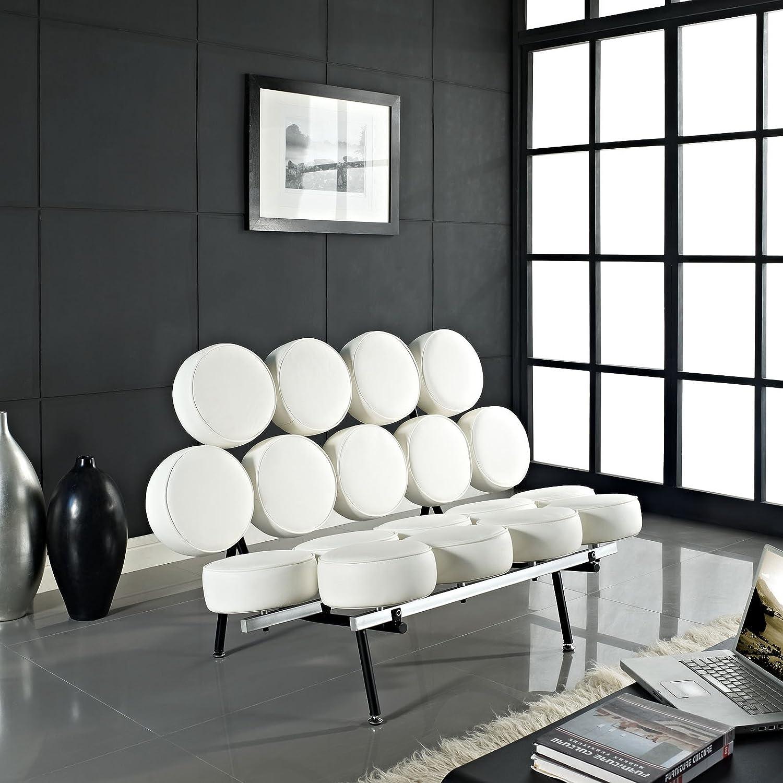 Amazon.com: Modway Nelson Style Marshmallow Sofa In Genuine White Leather:  Kitchen U0026 Dining
