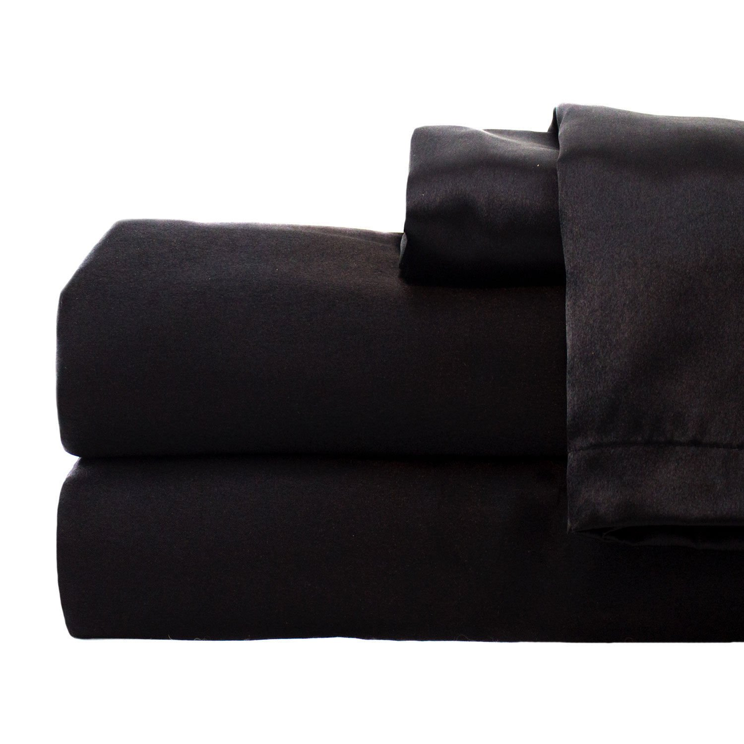 zry_dlifa Full size Black Hotel Collection Satin Sheet Sets