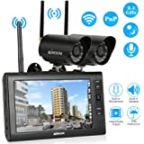 "KKmoon Wireless CCTV Camera Kit Home Security DVR System Wireless 2.4GHz 7"" TFT Digital LCD Display Monitor 2 Channel Quad DVR + 2 IR Night Vision Waterproof Camera"
