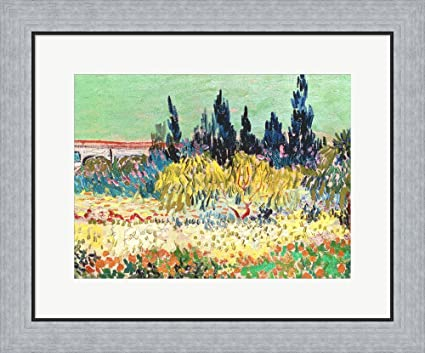 The Garden At Arles, Detail Of The Cypress Trees By Vincent Van Gogh Framed  Art