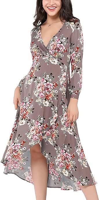 Azalosie Wrap Maxi Dress Long Sleeve V Neck Floral Flowy