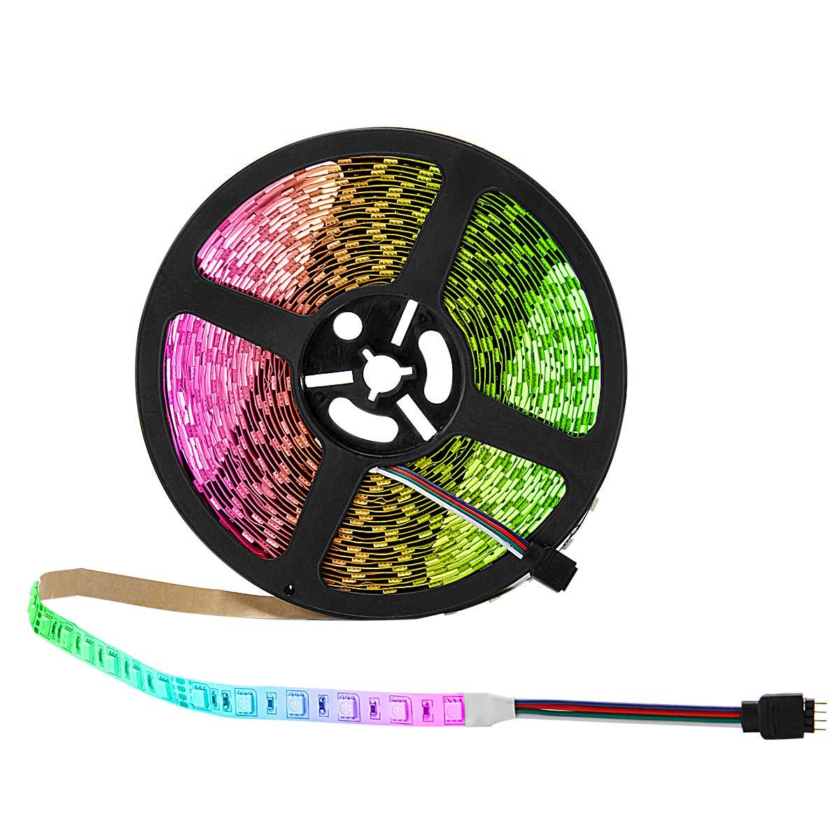 BINZET LED Strip Light - 32.8ft 5050 RGB 300LEDs 24V Color Changing Flexible Self-Adhesive Light Strip