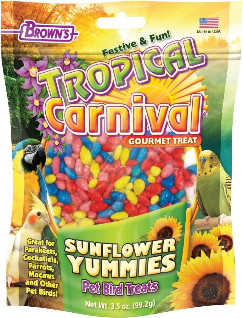 F.M. Brown's Tropical Carnival Sunflower Yummies Treat for Parakeets, Cockatiels, Parrots, Macaws, and Other Pet Birds, 3.5-oz Bag