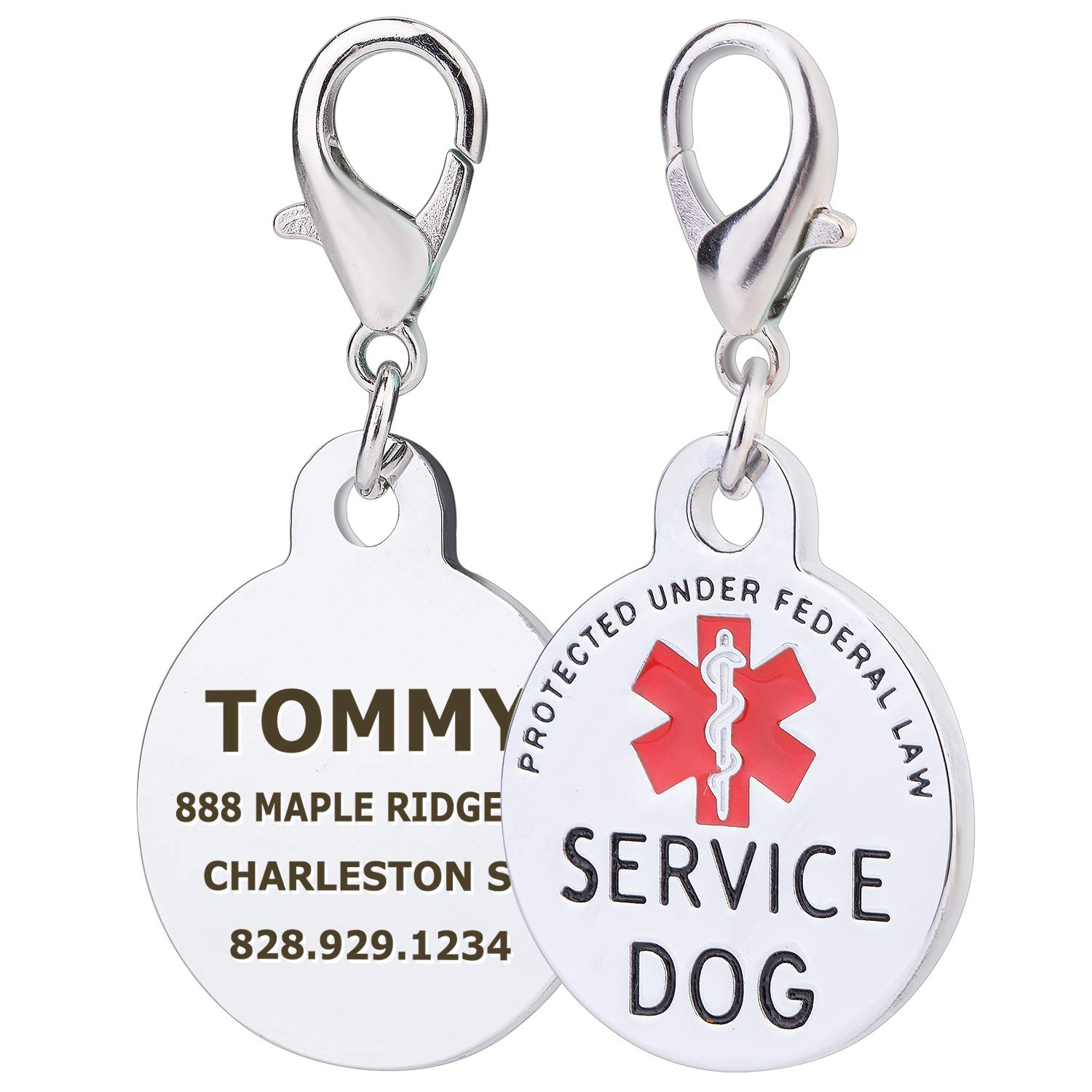 TagME Personalized Working Dog Tags Red Medical Alter Symbol, Stainless Steel Custom Engraved Dog Tags Ltd