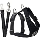 SlowTon Dog Car Harness Plus Connector Strap, Multifunction Adjustable Double Breathable Mesh Fabric Travel Regular Vest Harness with Safety Seat Belt in Car Vehicle for Dogs Road Trip Daily Walks