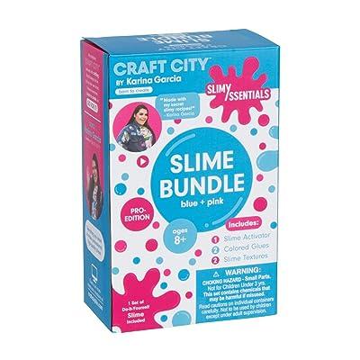 Craft City Karina Garcia Make Your Own Slime Essentials Kit | Blue + Pink Pack | Glitter | DIY Slime Essentials and Supplies | Slime Arts and Crafts | Pro-Edition | Ages 8+