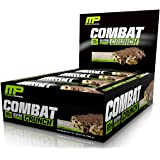 MusclePharm Combat Crunch Protein Bar, Multi-Layered Baked Bar, 20g Protein, Low Sugar, Low Carb, Gluten Free, Chocolate Chip Cookie Dough, 12 Bars