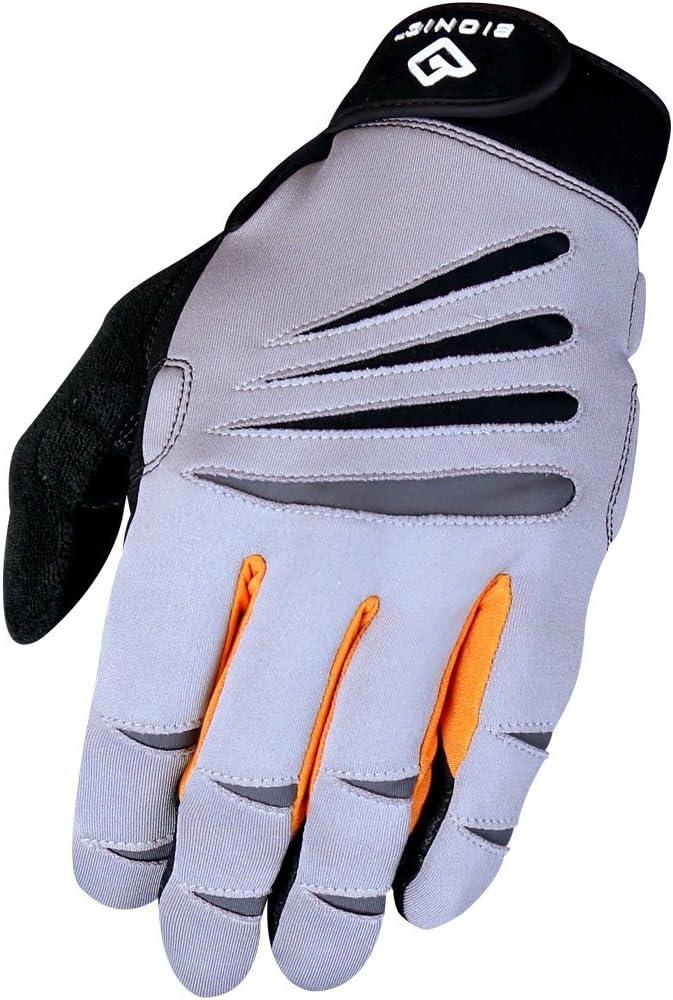 BIONIC Gloves Men's Premium Full Finger Fitness Gloves w/Natural Fit Technology, Gray/Orange (Pair)!