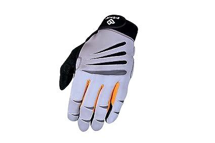 Bionic Gloves Men's Premium Full Finger Fitness Gloves w/Natural Fit Technology, Gray/Orange (Pair)! Exercise & Fitness Gloves at amazon