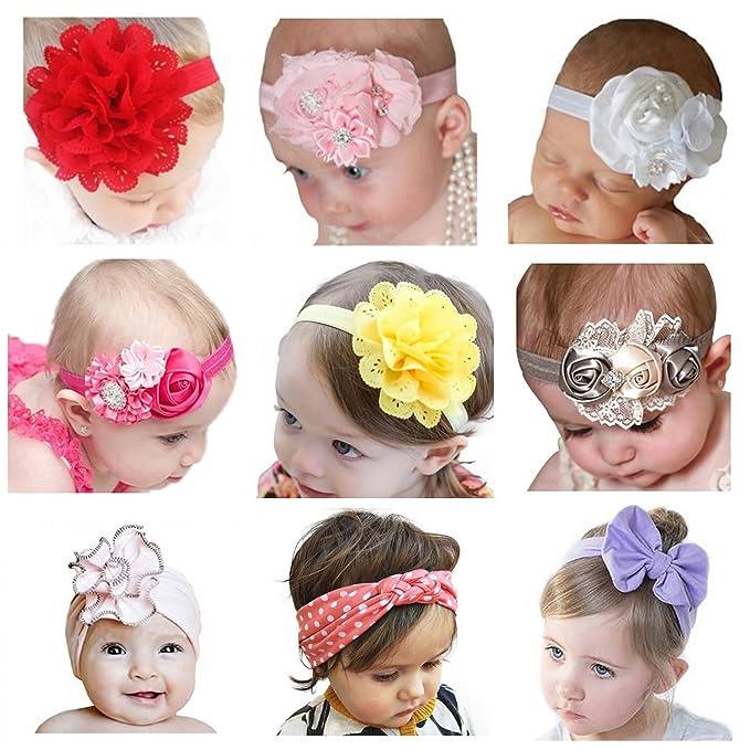 b6b7211d2 Vendas Del Bebé SWEETBB Bandas para la Cabeza del Recién Nacido con la Flor  linda - 9 Paquete  Amazon.es  Ropa y accesorios