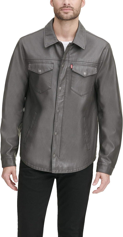 Levi's - Chaqueta tipo camisa de piel sintética para hombre (tacto de cordero liso)