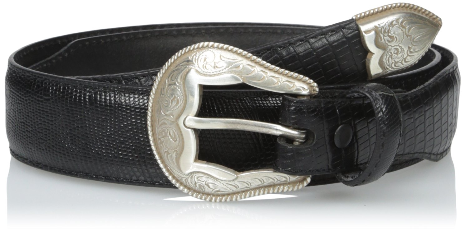 Dan Post Men's Tapered Lizard Grain Leather Belt, Black, 32
