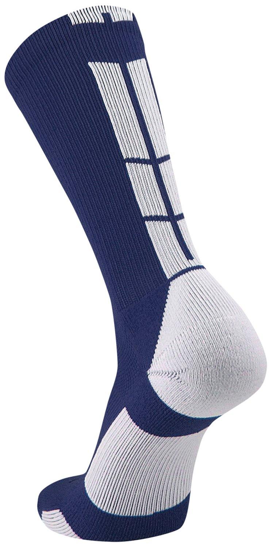 TCK Sports Elite Performance Crew Socks, Navy/White, Medium