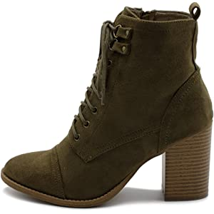 471282b3e57 Ollio Women's Shoe Faux Suede Lace Up Stacked High Heel Ankle Boots SSB09