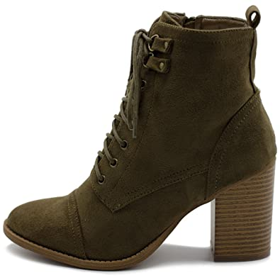 Women's Shoe Faux Suede Side Zip Up Stacked High Heel Ankle Boots