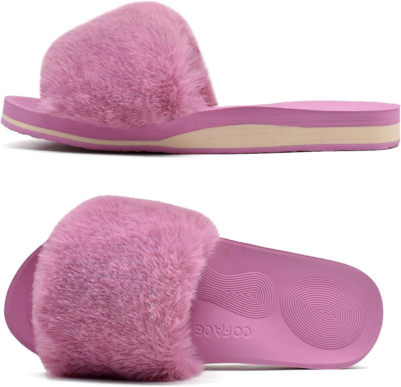 COFACE Womens-Fluffy-Sliders-Faux-Fur