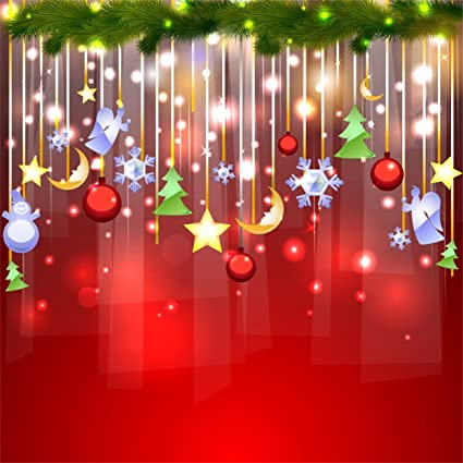 AOFOTO 5x5ft Christmas Party Backdrop Glitter Ornaments Red Style Happy New Year Xmas Decorations Photography Studio
