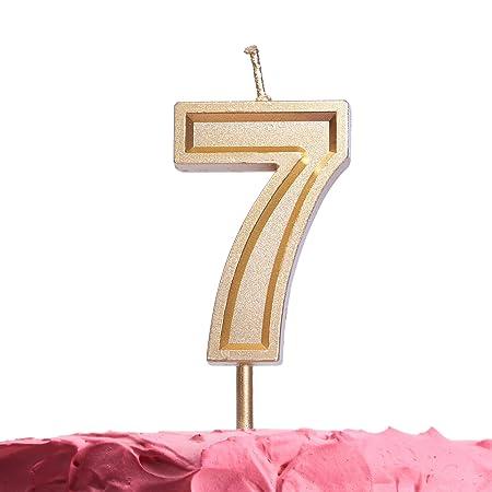 GET FRESH Velas de cumpleaños 7 años, Velas de Oro, números ...