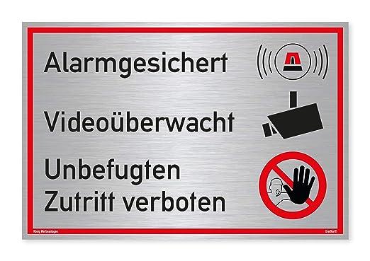 Cartel Alarma gesic Hert vídeo mediante wacht No autorizado ...