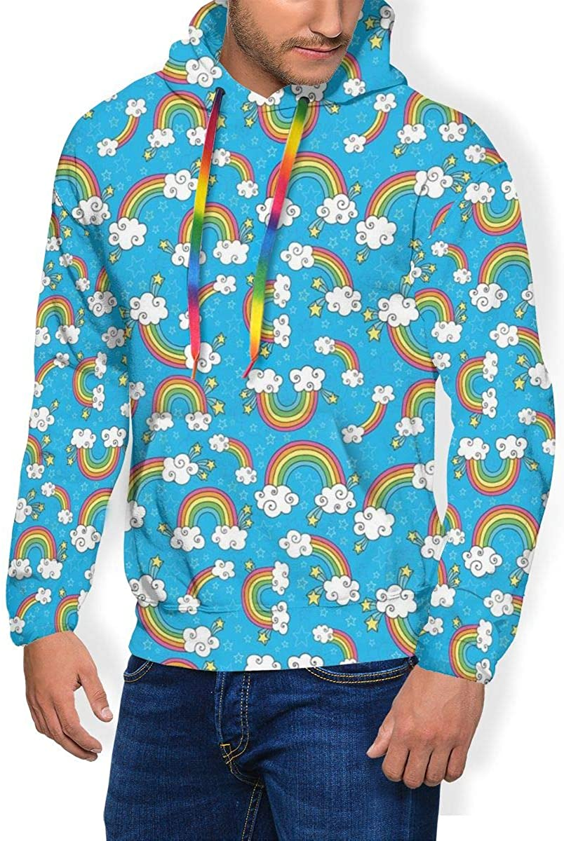 Men\'s Hoodie Thicken Fluff Sweatshirt,Sky with Star Burst Magical Rainbows and Puffy Clouds Groovy Doodles of Hippie Art XXL 71w8QedlWDL