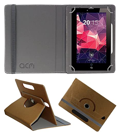 Acm Designer Rotating Leather Flip Case Compatible with Zebronics Ebpad 7t500 3g Tablet Cover Stand Golden Tablet Accessories