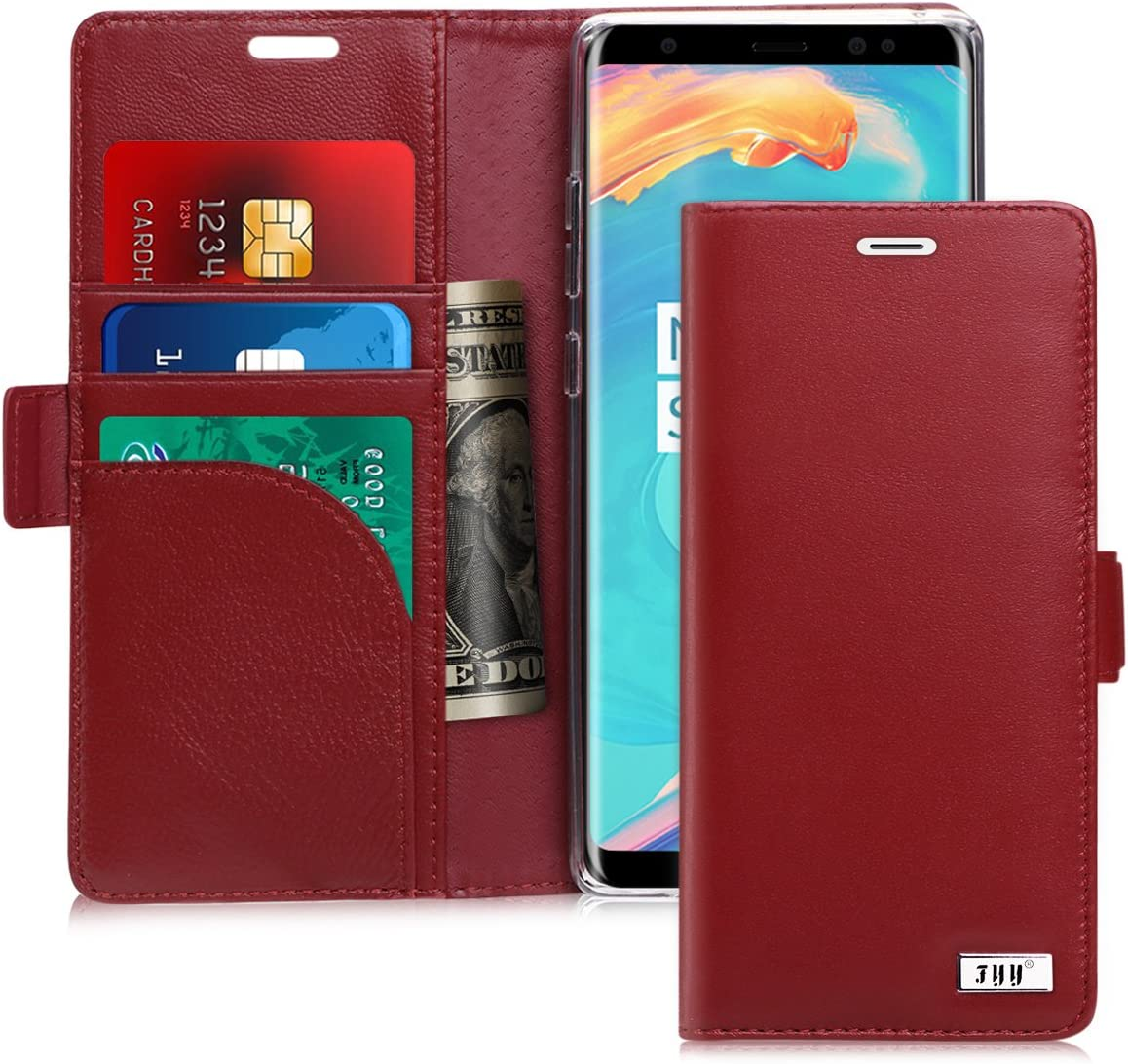 FYY [Genuine Leather] Wallet Case for Samsung Galaxy Note 8 2017, Handmade Flip Folio Wallet Case with Kickstand Card Slots Magnetic Closure for Samsung Galaxy Note 8 2017 Wine Red