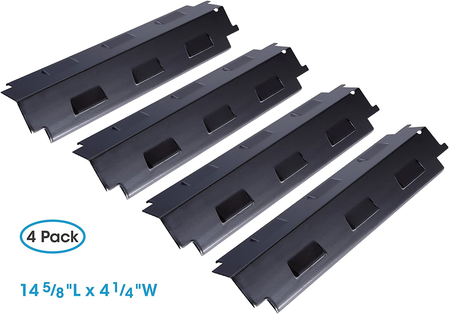 BBQ Parts Grill Heat Plates Flame Tamer Cover Porcelain Steel Replacement 4 Pack