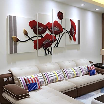 WAN SAN QIAN Fresh And Simple Art Murals Four Panels 3D Home Decor Wall
