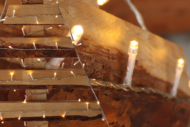 120 LED Lichterkette warmwei/ß aussen Kabel transparent mit Timer Fernbedienung Progamme Dimmen