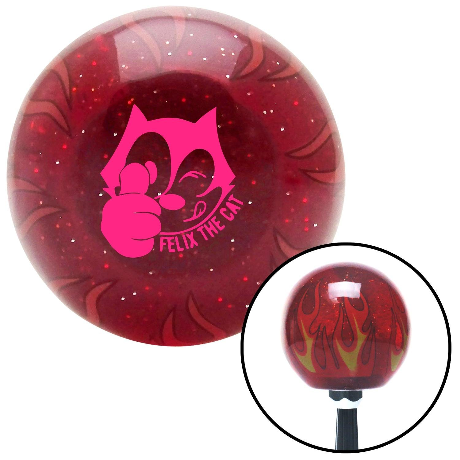 Pink Felix The Cat Thumbs Up American Shifter 242349 Red Flame Metal Flake Shift Knob with M16 x 1.5 Insert