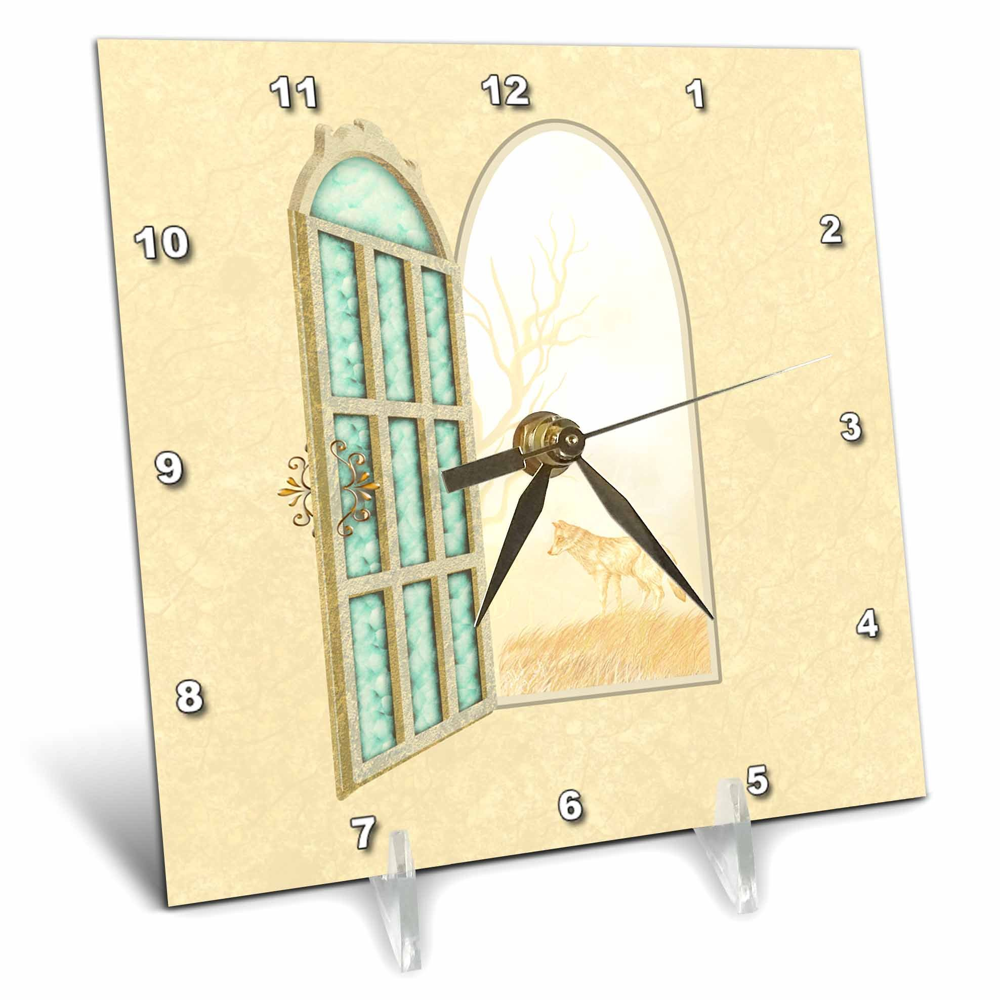 3dRose Dream Essence Designs-Interiors - Open window or doorway to a view of a wild wolf and trees in the fog. - 6x6 Desk Clock (dc_269505_1)