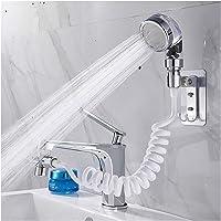 BIDLS Faucet Extender Bathroom Wash Face Basin Water Tap External Shower Head Toilet Hold Filter Flexible Hair Washing…