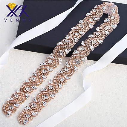 XINFANGXIU Rose Gold Crystal Rhinestone Sash Belt Sewn Hot Fix Applique Trim  1 Yard Bridal Wedding 272c1fadd651